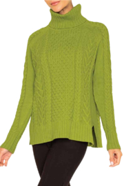 Alison Sheri  Apple Cable Knit Sweater - Front cropped