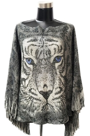Apple Metallic Fringe Trim Tiger Poncho - Product Mini Image