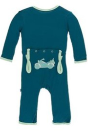 Kickee Pants Applique Coverall with Zipper Heritage Blue Motorcycle - Product Mini Image