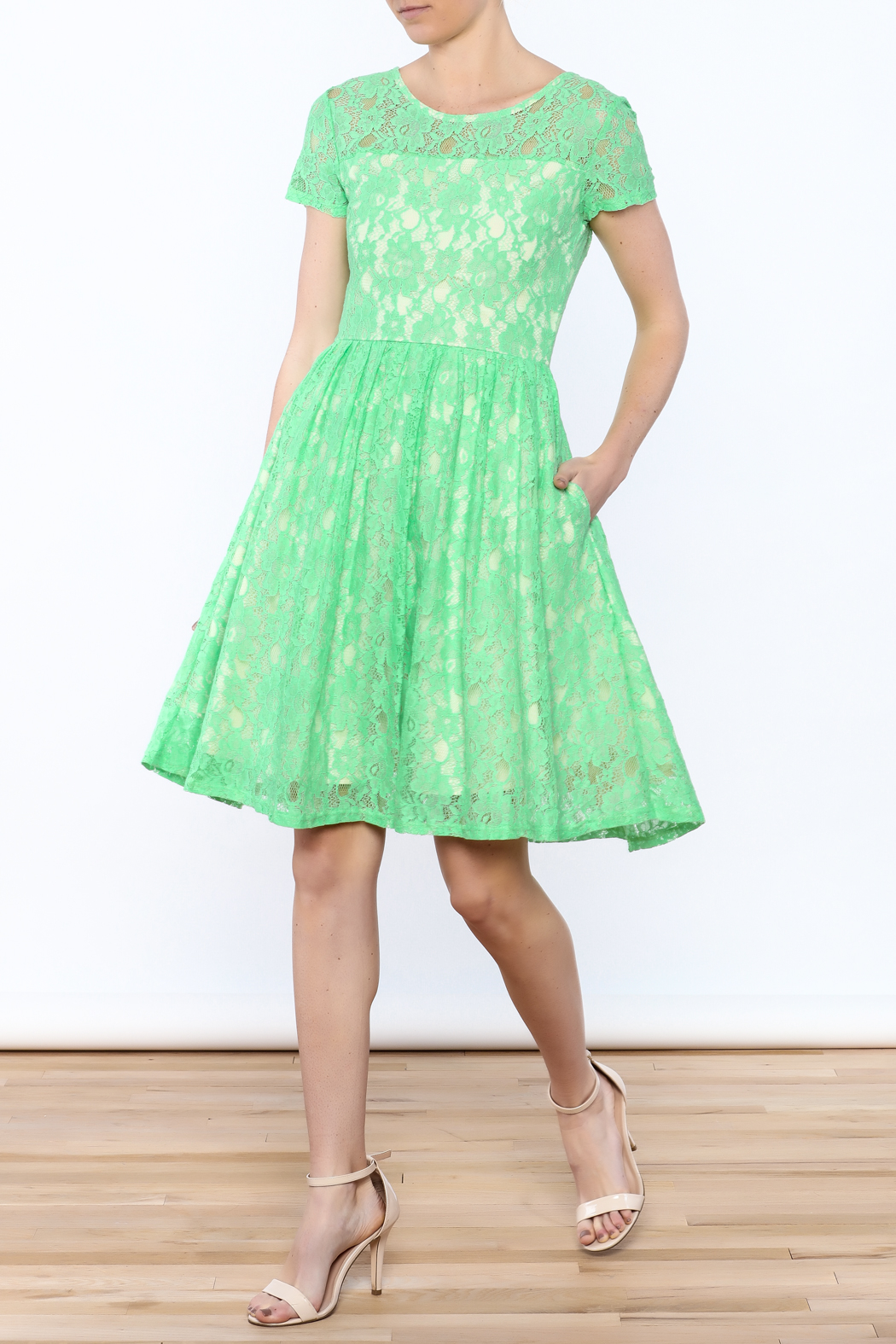 Apricity Mint Lace Dress - Front Full Image