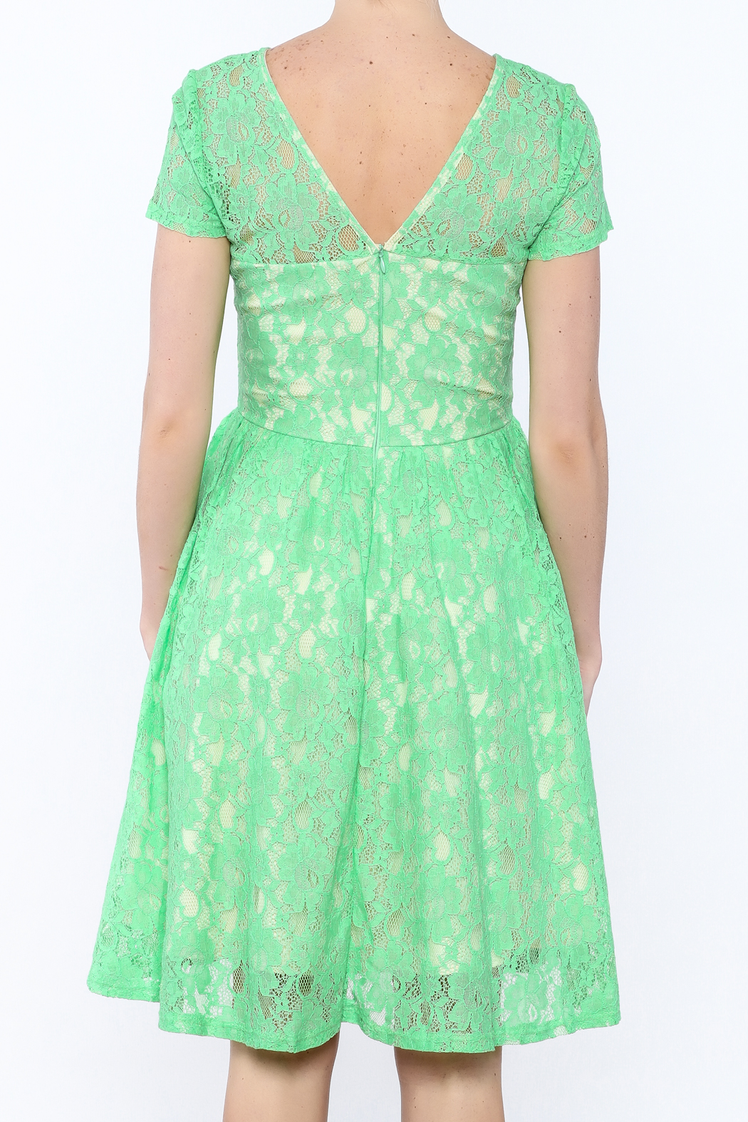 Apricity Mint Lace Dress - Back Cropped Image