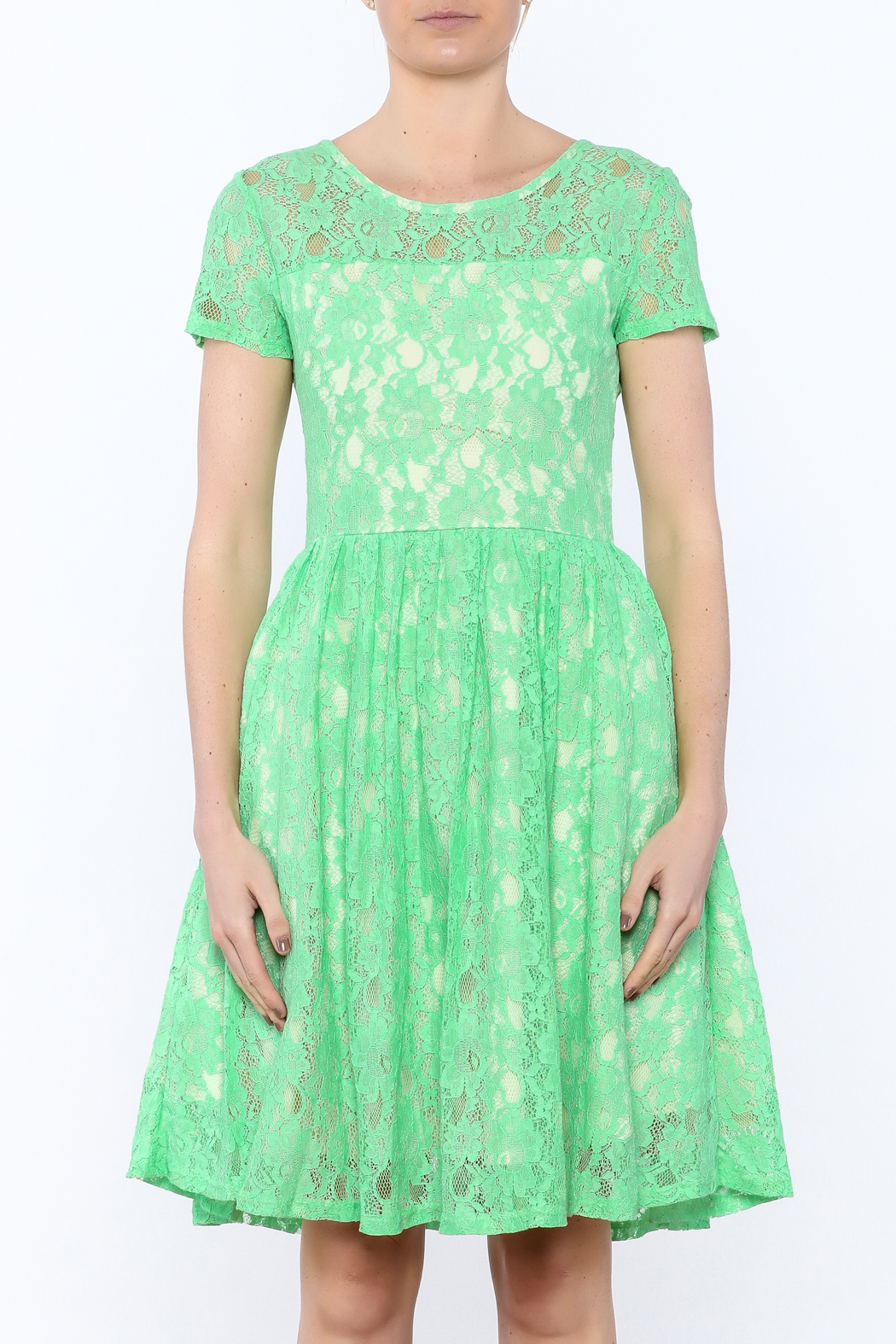 Apricity Mint Lace Dress - Side Cropped Image