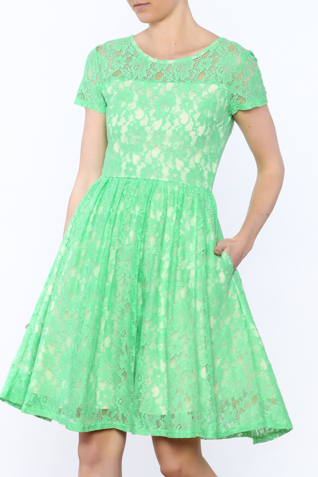 Apricity Mint Lace Dress - Front Cropped Image