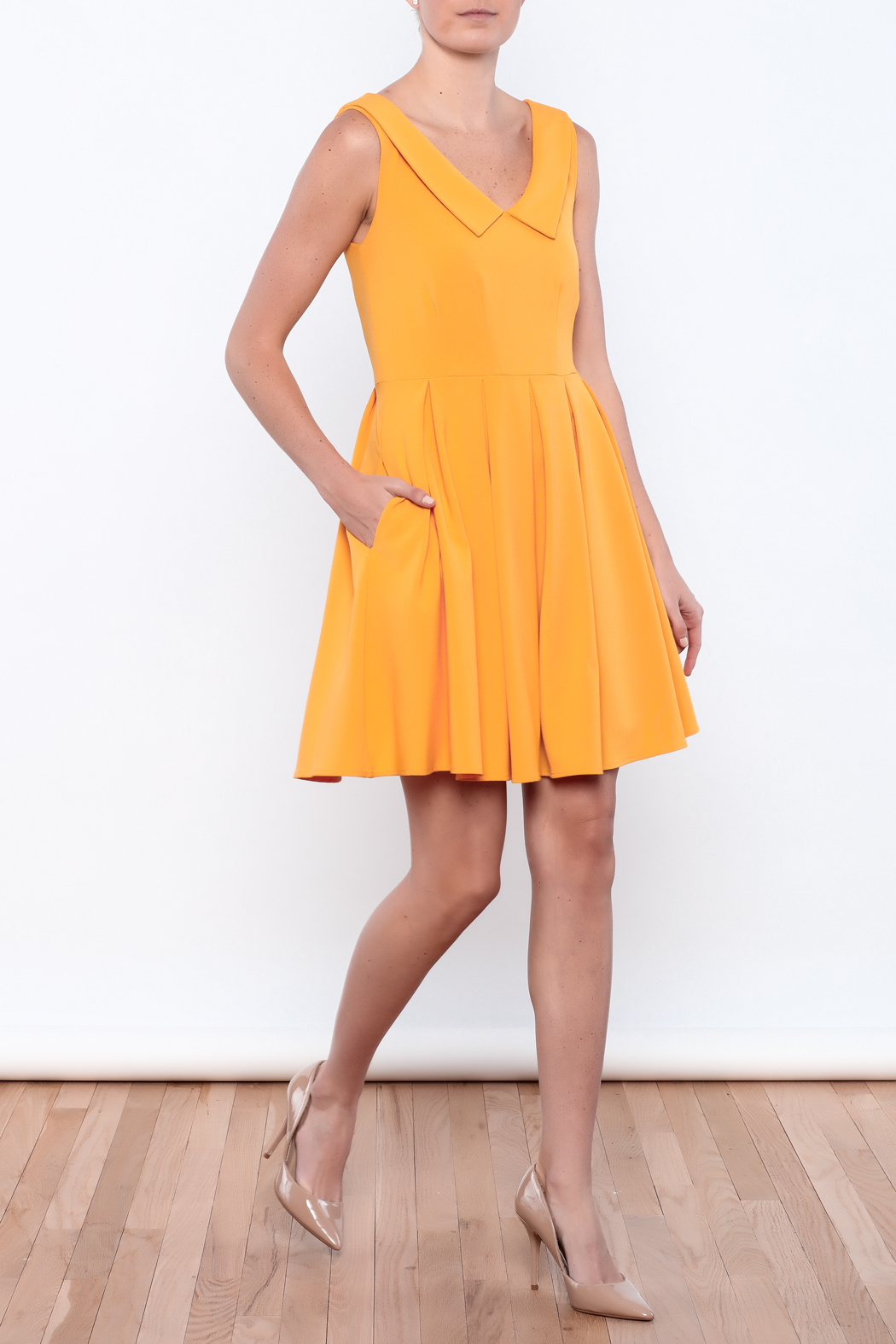 Apricity Mustard Sunday Dress - Front Full Image