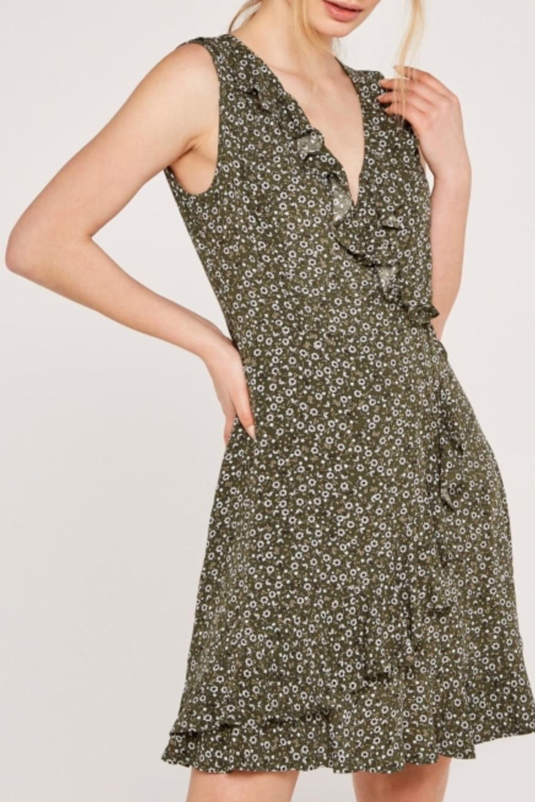 Apricot Ditsy Floral Dress - Side Cropped Image