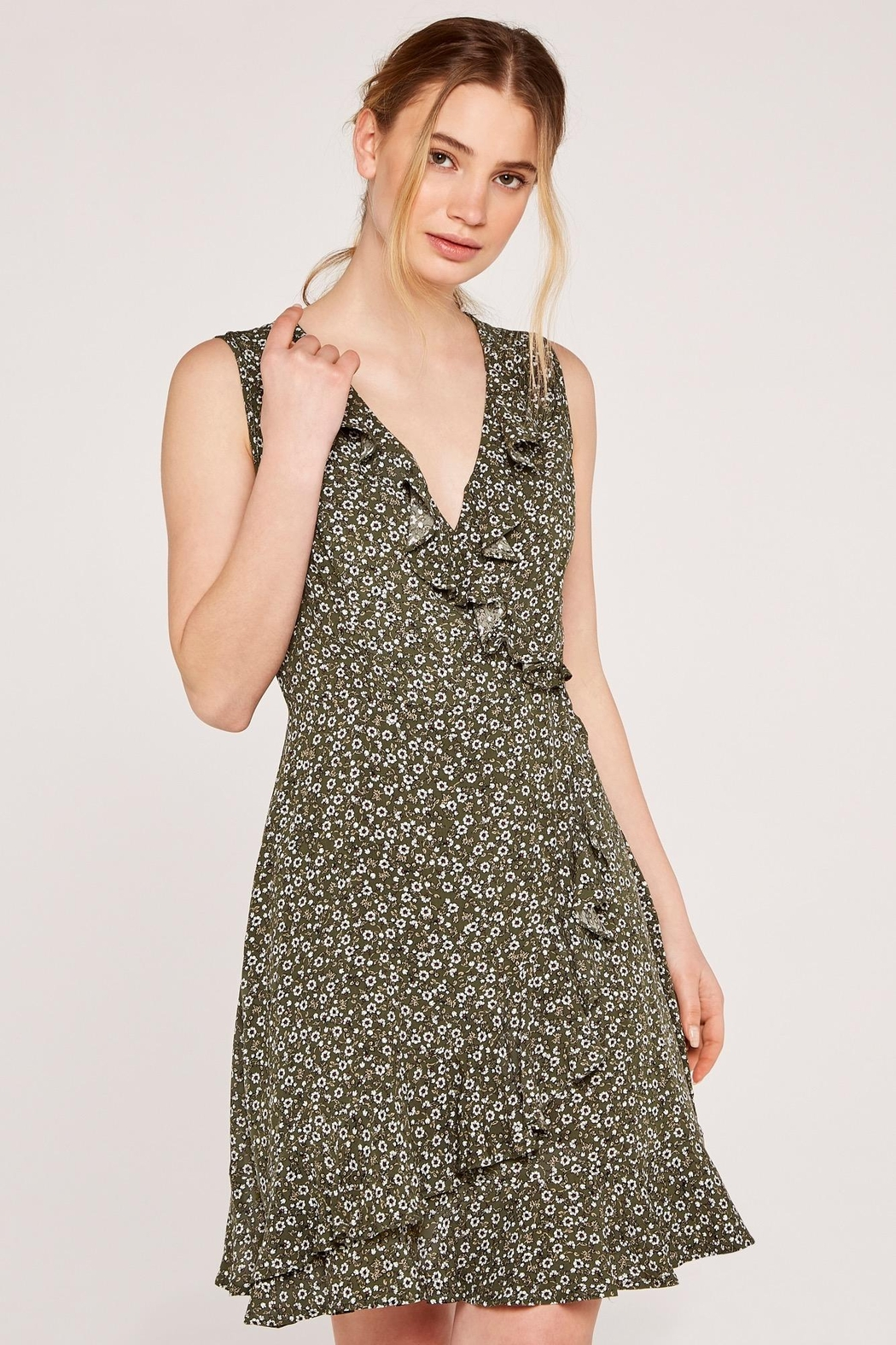 Apricot Ditsy Floral Dress - Main Image