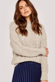 Apricot Cable Knit Sweater - Front cropped