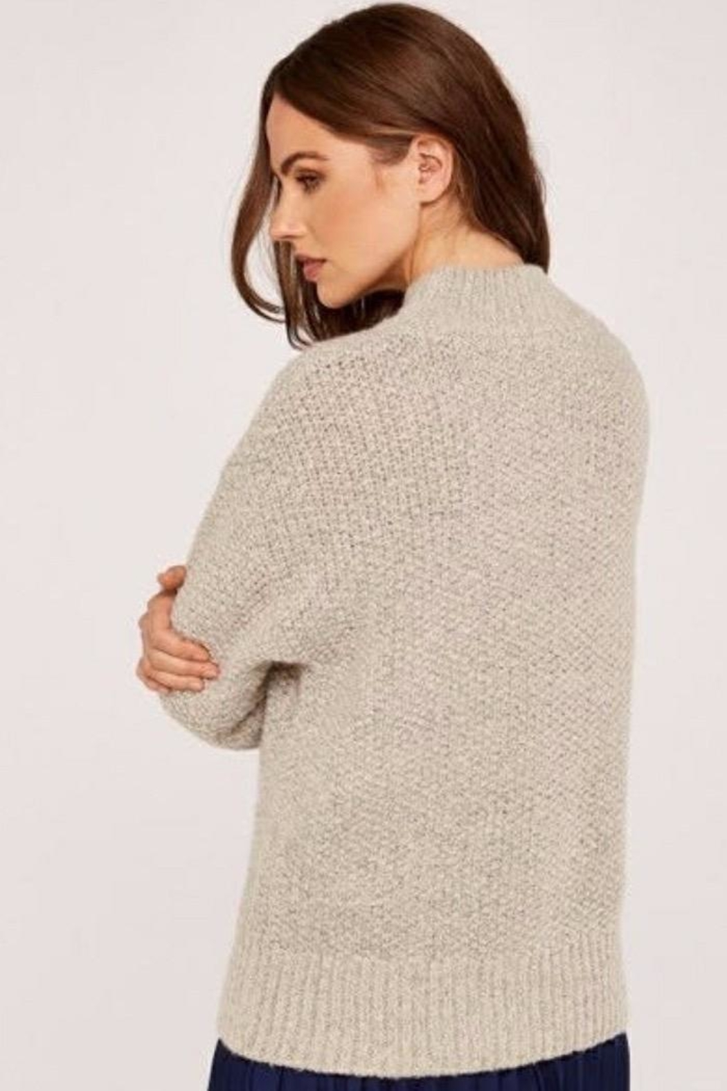 Apricot Cable Knit Sweater - Side Cropped Image