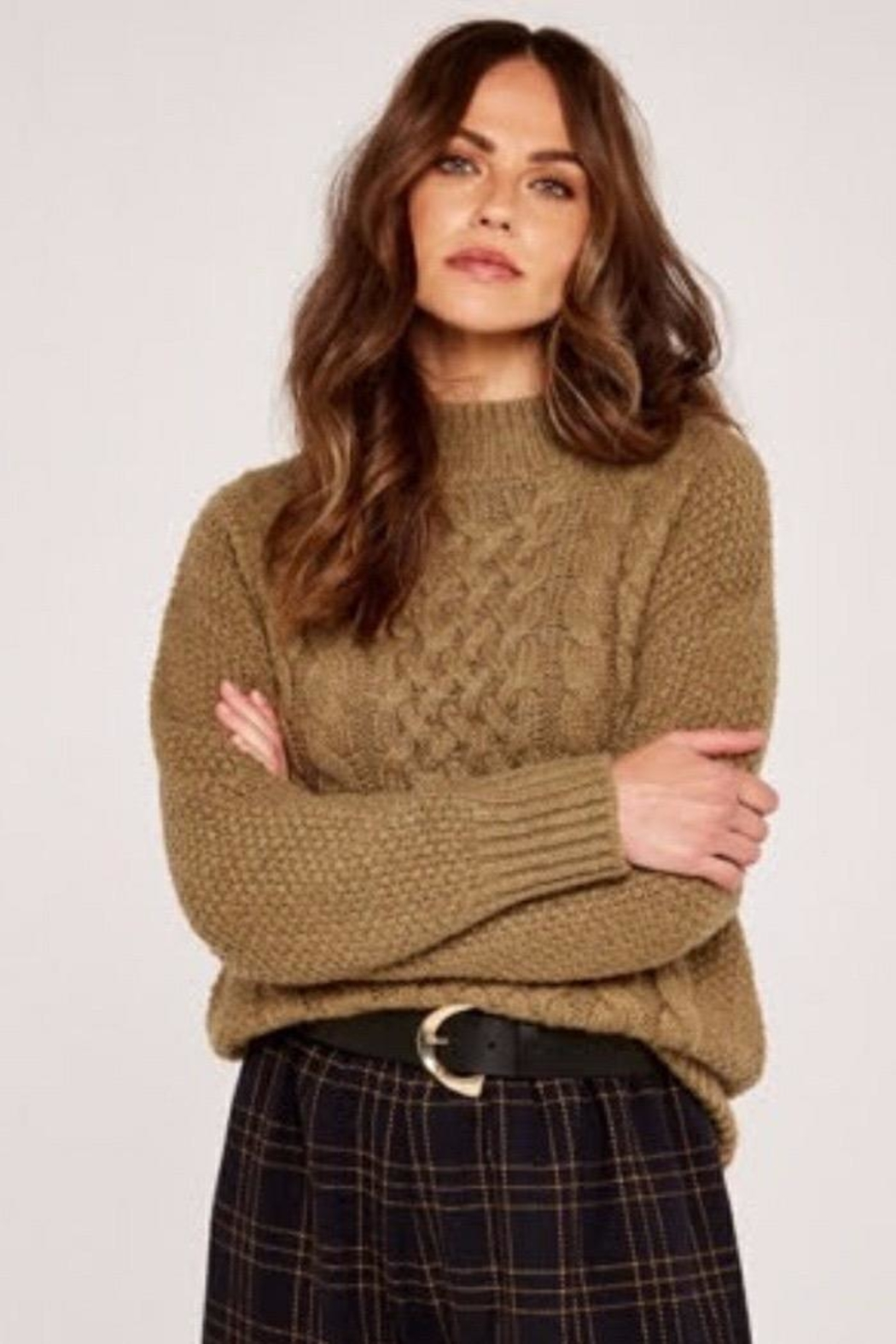 Apricot Cable Knit Sweater - Main Image