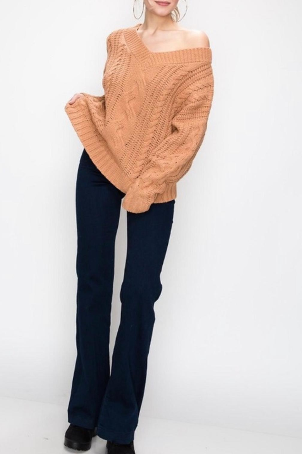 Favlux Apricot Cable-Knit Sweater - Front Full Image