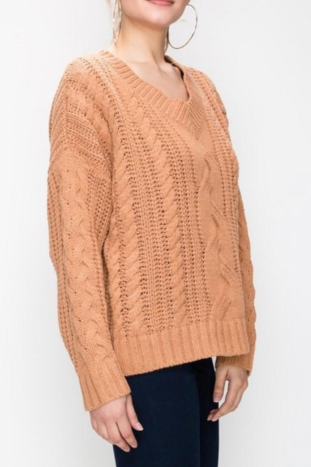 Favlux Apricot Cable-Knit Sweater - Side Cropped Image