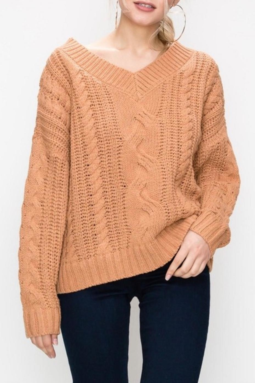 Favlux Apricot Cable-Knit Sweater - Main Image
