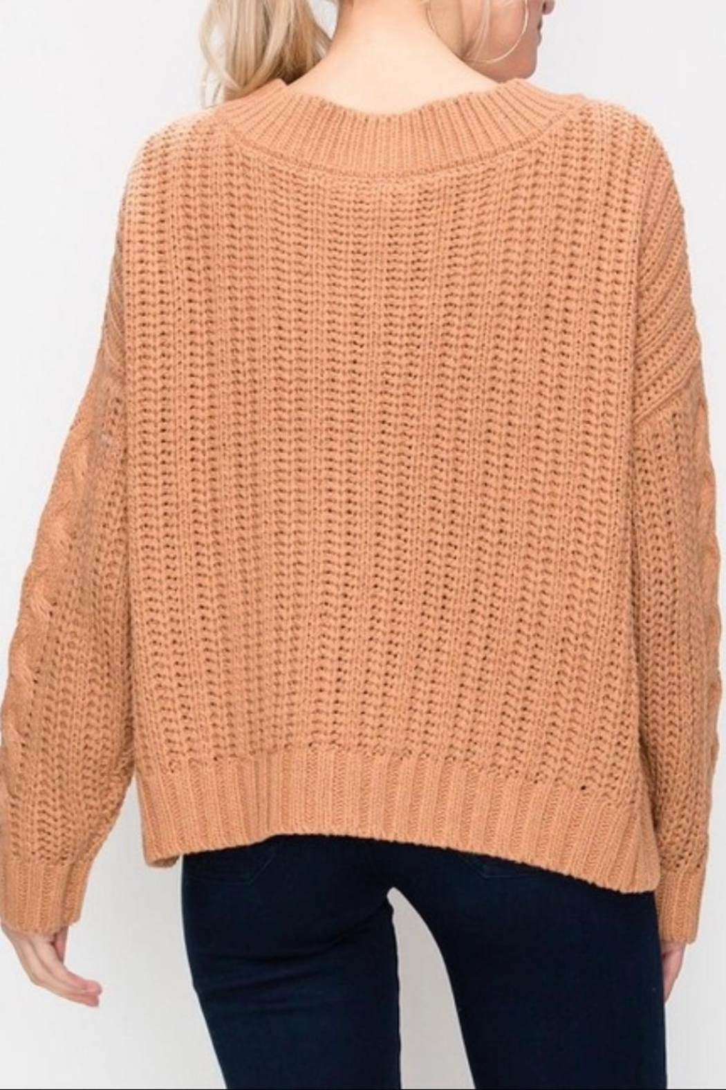 Favlux Apricot Cable-Knit Sweater - Back Cropped Image