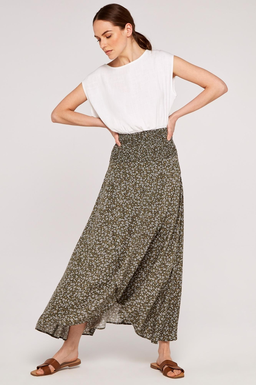 Apricot Ditsy Floral Wrap Skirt - Main Image