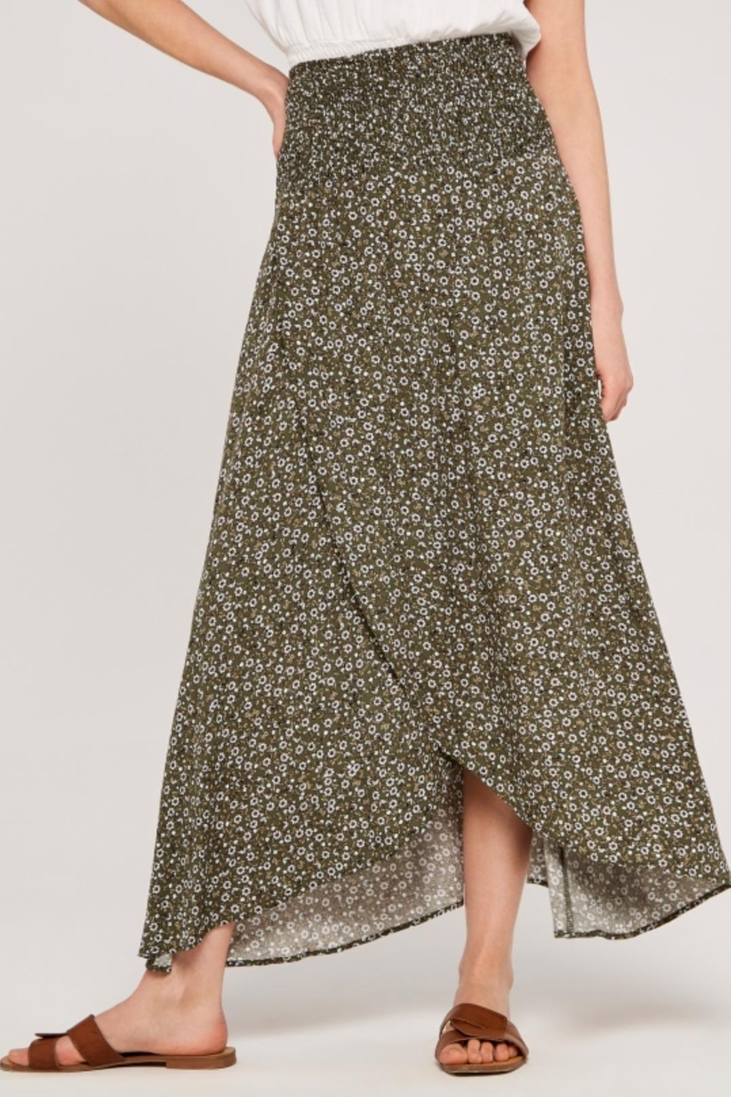 Apricot Ditsy Floral Wrap Skirt - Back Cropped Image