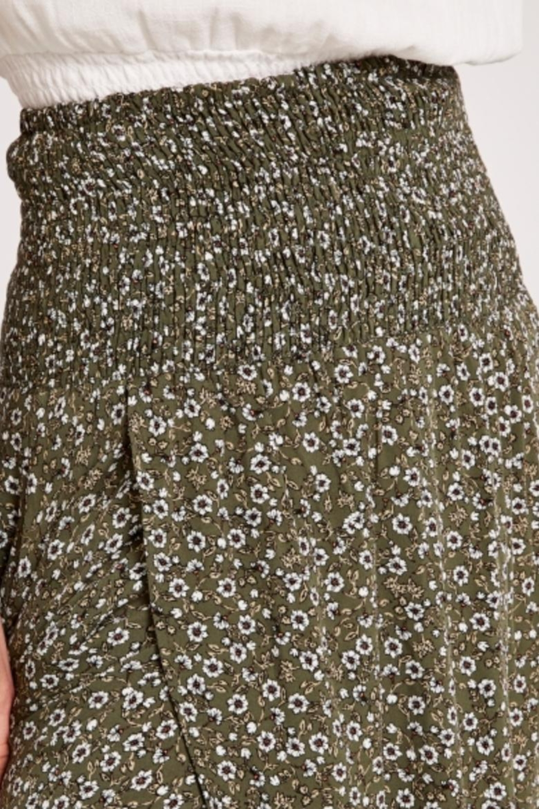 Apricot Ditsy Floral Wrap Skirt - Front Full Image