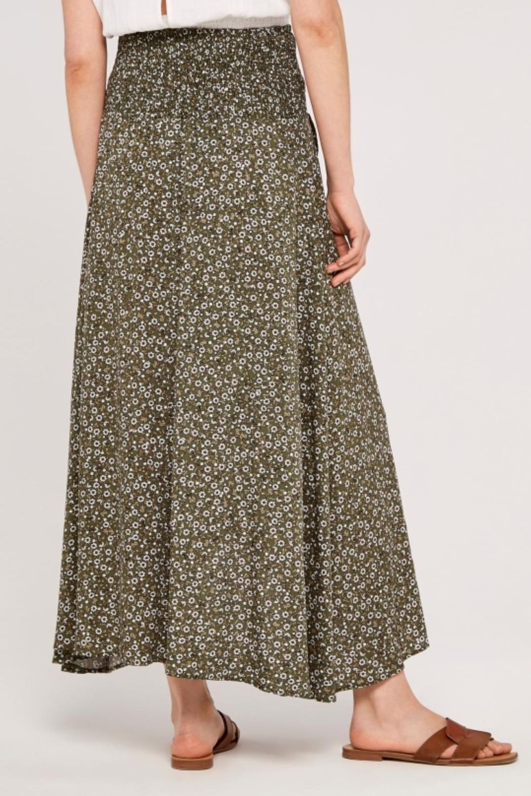Apricot Ditsy Floral Wrap Skirt - Side Cropped Image