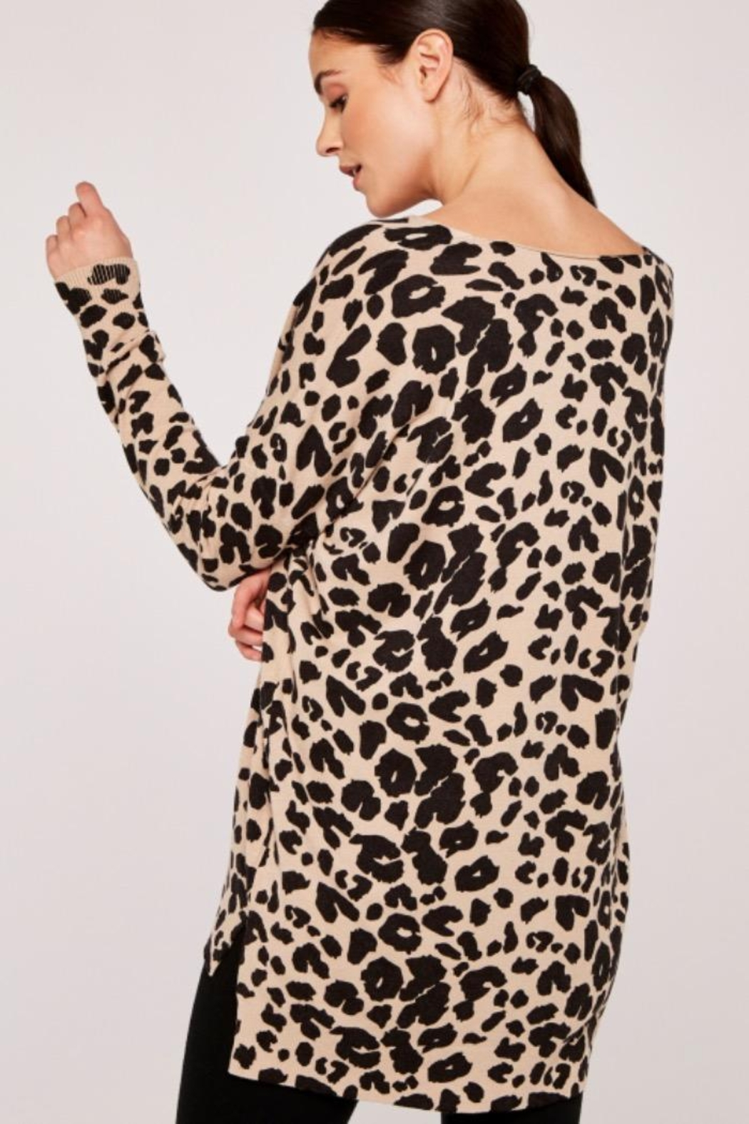 Apricot Leopard Print Soft Knit - Front Full Image