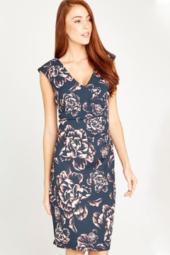 Apricot Ruched V-Neck Dress - Product List Image