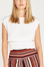 Apricot Shirred Waist Crop Top - Front cropped