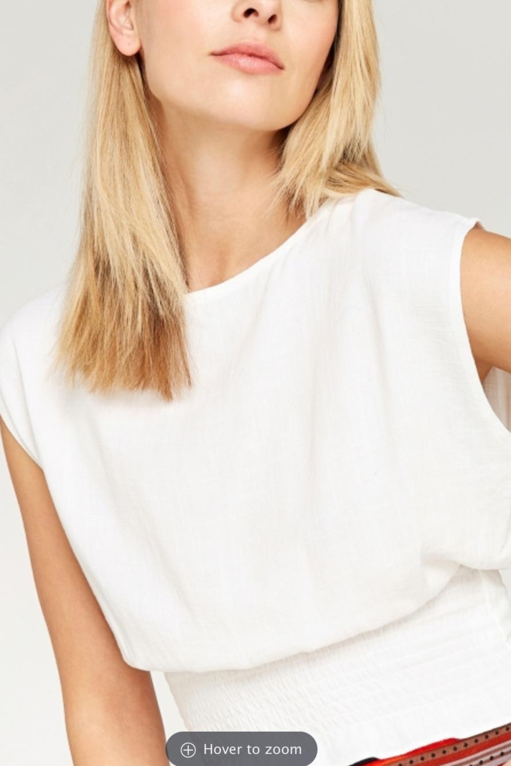 Apricot Shirred Waist Crop Top - Side Cropped Image