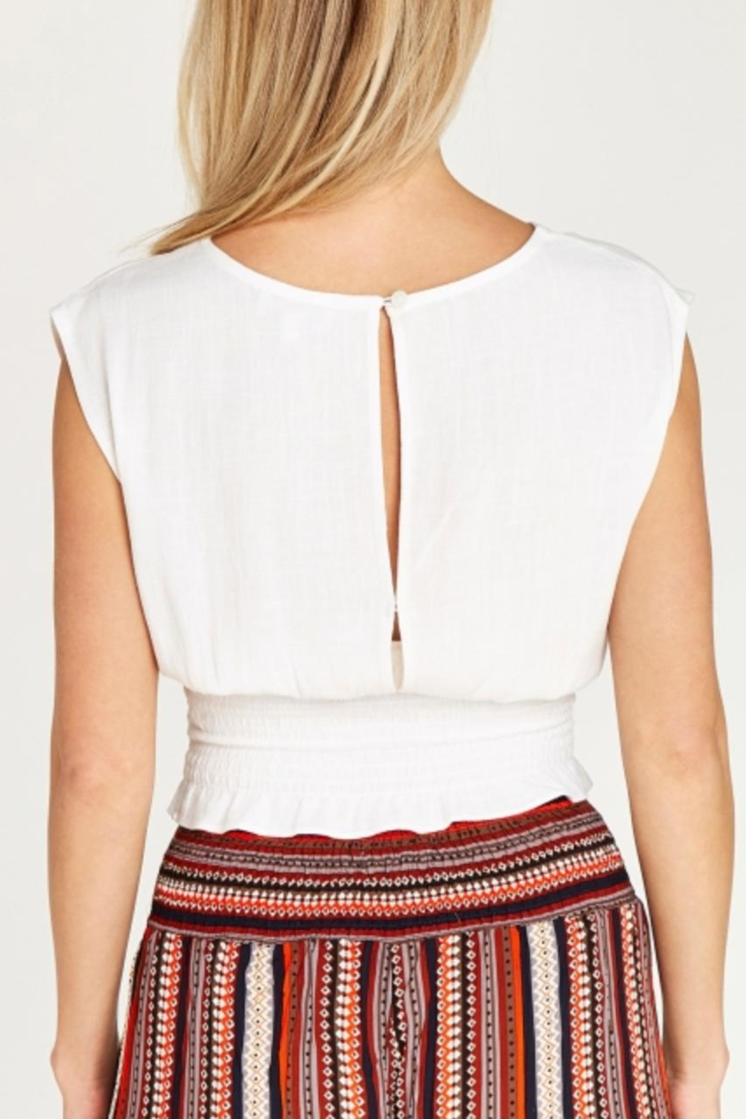 Apricot Shirred Waist Crop Top - Front Full Image