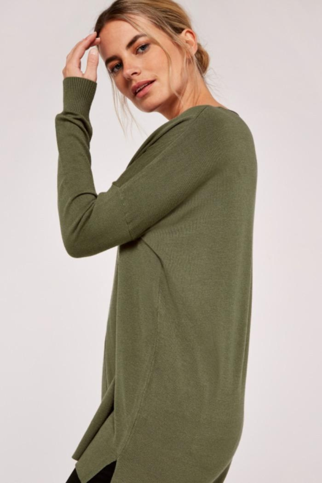 Apricot Soft Knit Sweater - Back Cropped Image
