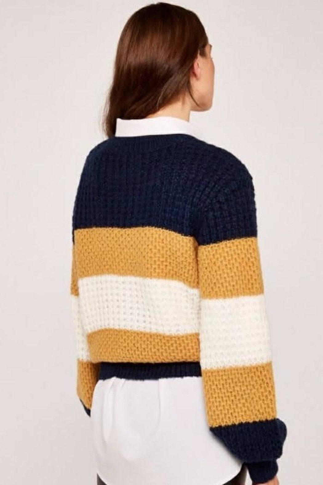 Apricot Striped Chunky Knit Sweater - Side Cropped Image