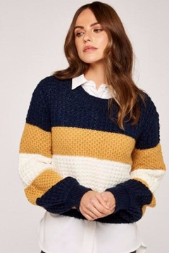 Apricot Striped Chunky Knit Sweater - Product List Image