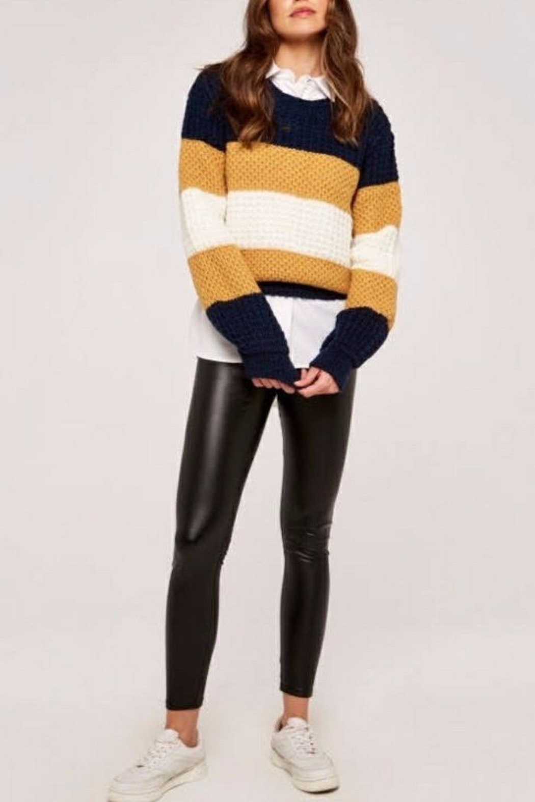 Apricot Striped Chunky Knit Sweater - Front Full Image