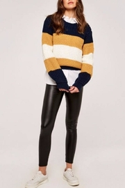 Apricot Striped Chunky Knit Sweater - Front full body