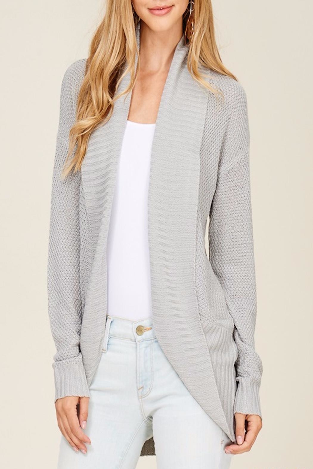Apricot Lane Rib Banned Cardigan-Silver - Front Cropped Image