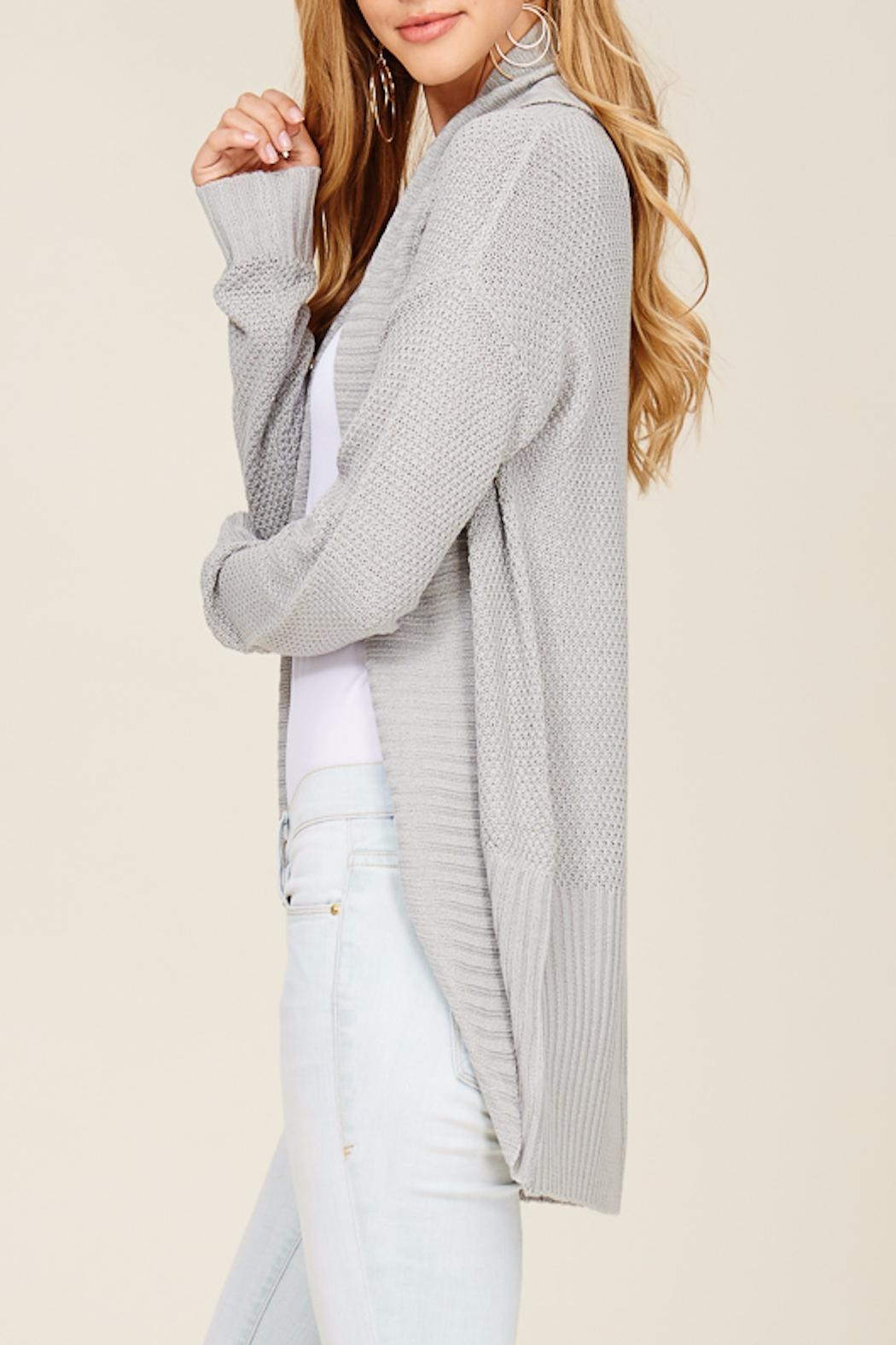 Apricot Lane Rib Banned Cardigan-Silver - Front Full Image