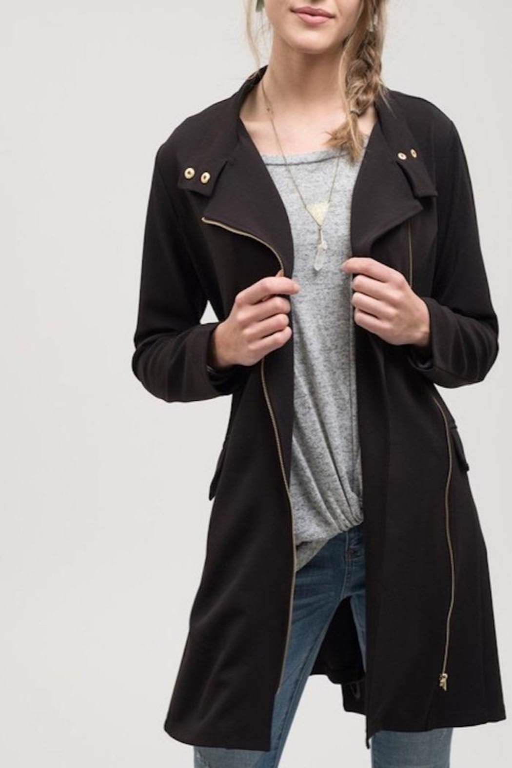 Apricot Lane Black Lightweight Jacket - Front Cropped Image