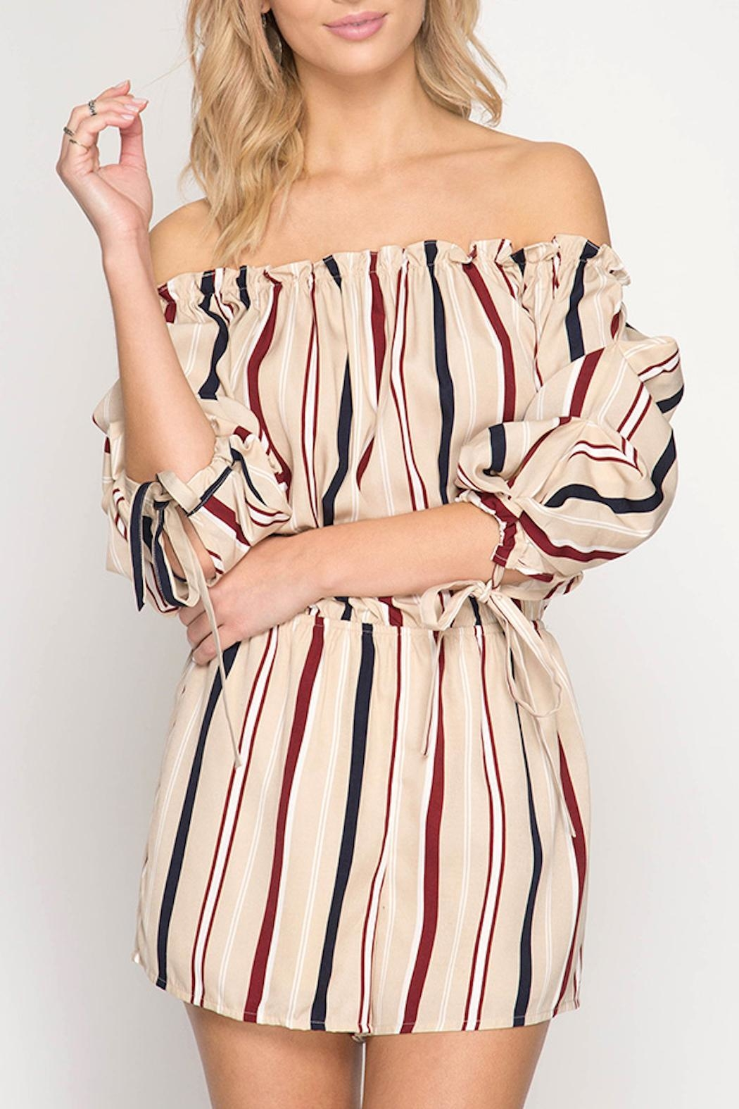 Apricot Lane Bubble Sleeve Romper - Front Cropped Image