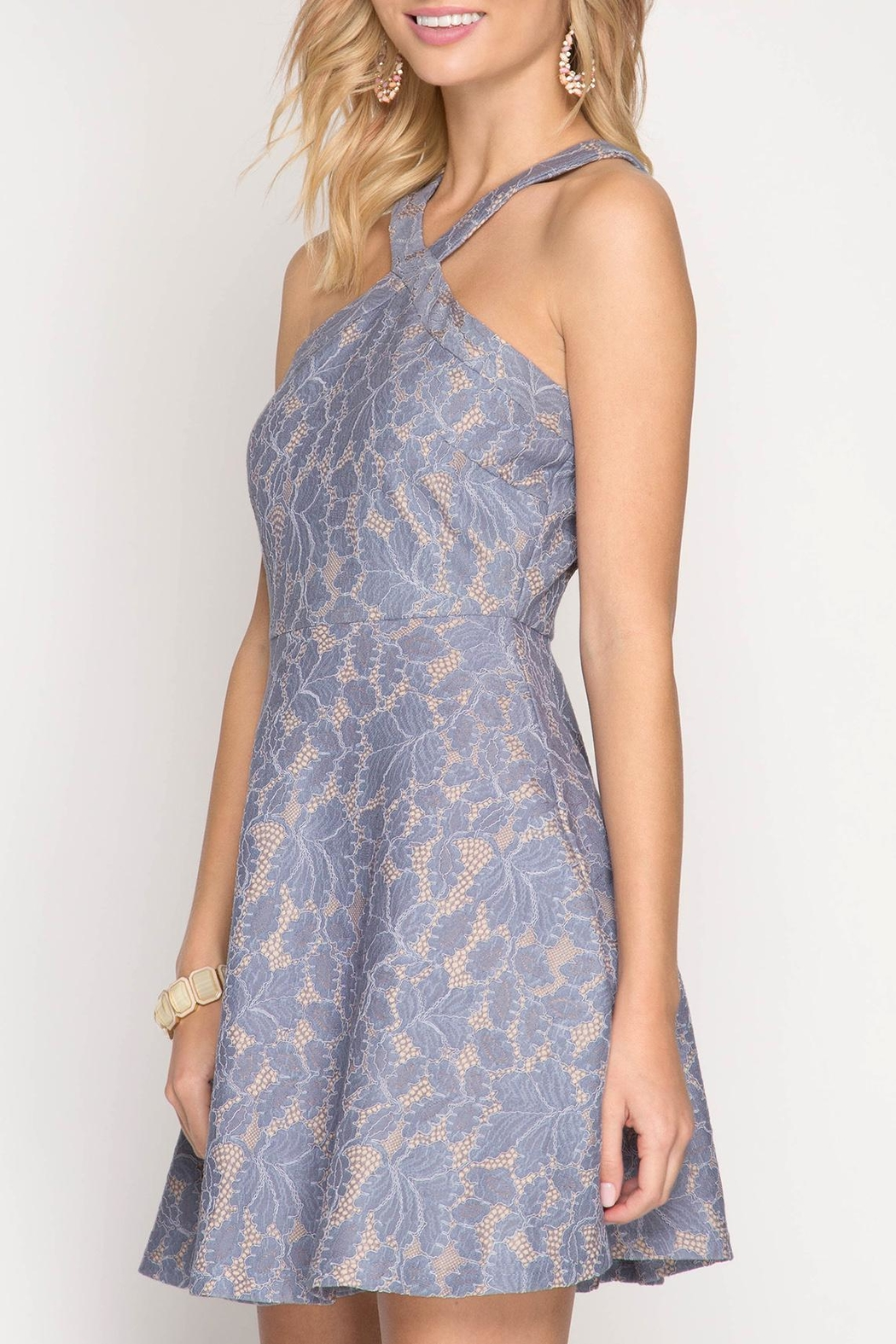 Apricot Lane Halter With Flare-Blue - Front Full Image