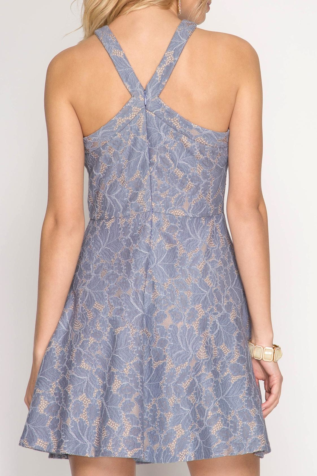 Apricot Lane Halter With Flare-Blue - Side Cropped Image