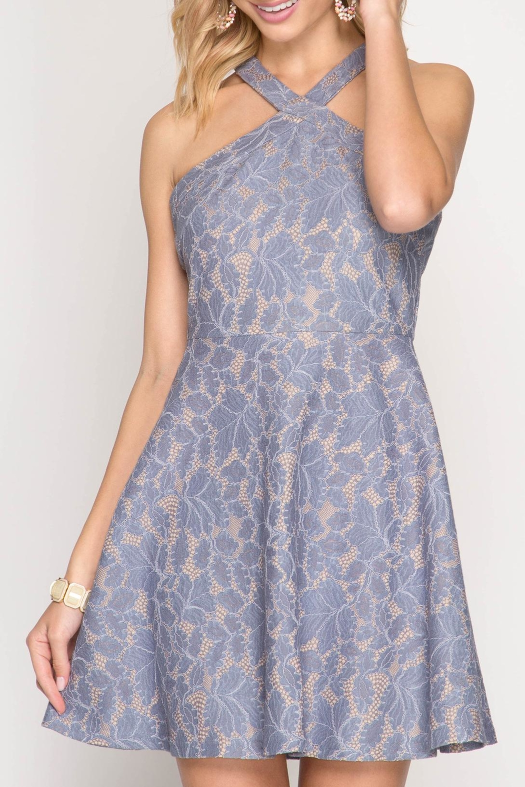 Apricot Lane Halter With Flare-Blue - Main Image