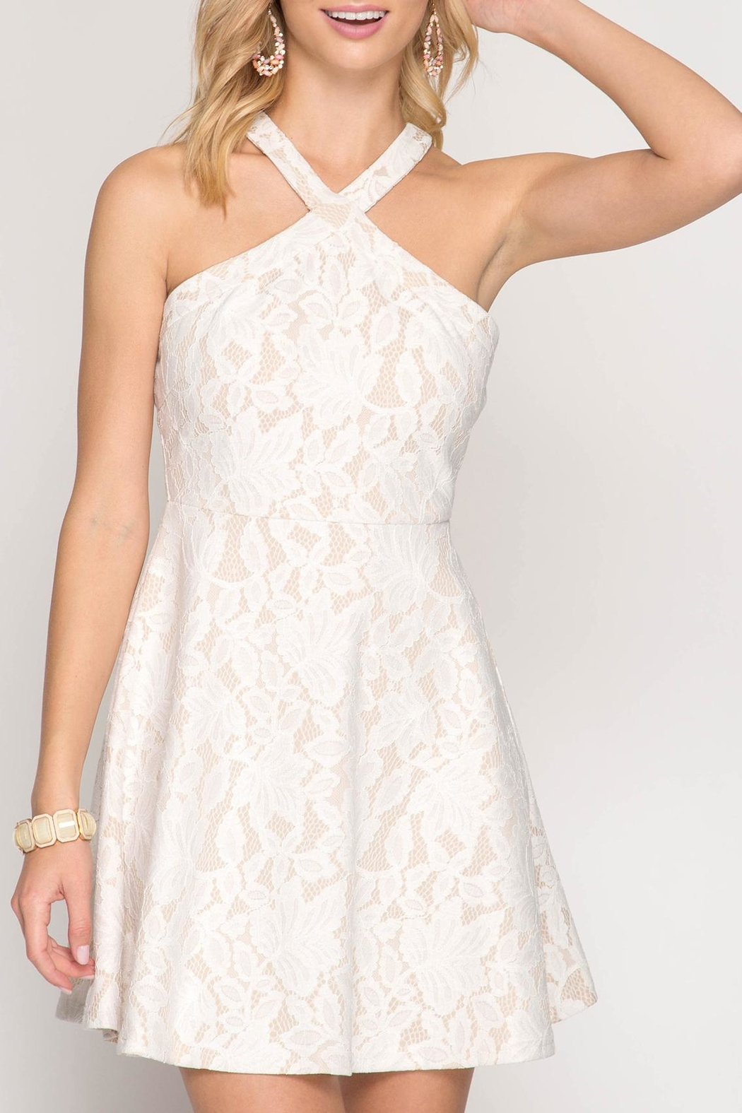 Apricot Lane Halter With Flare-White - Main Image