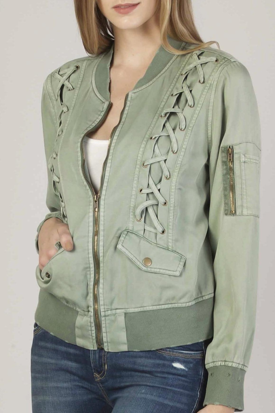 Apricot Lane Macy Lace-Up Bomber - Front Cropped Image
