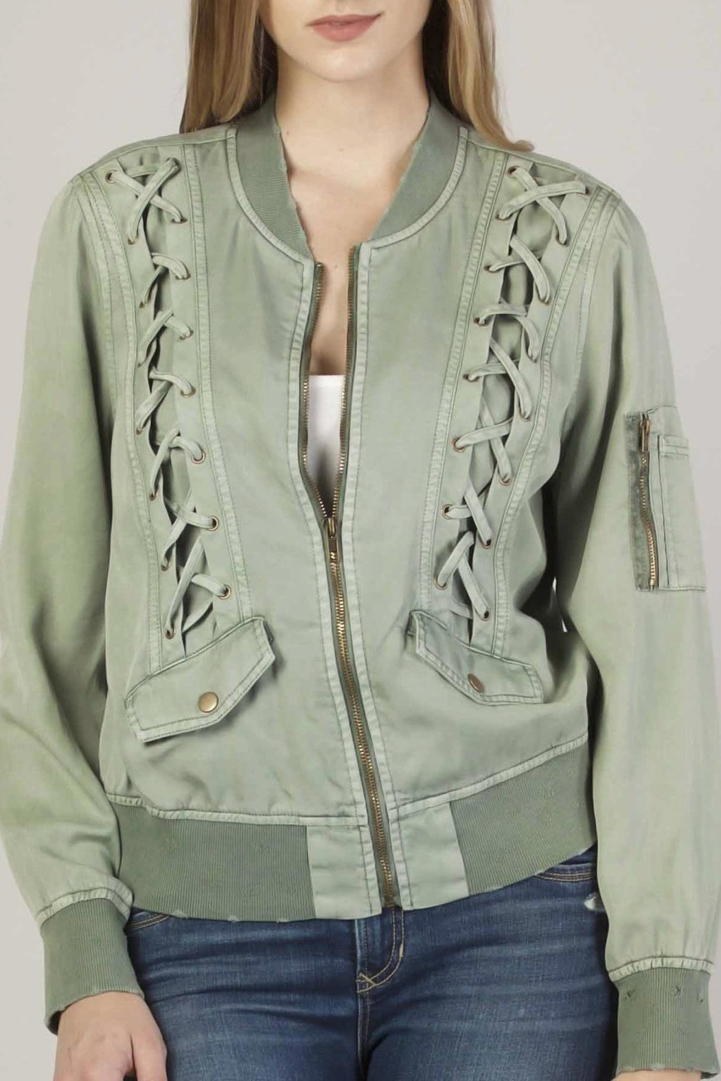 Apricot Lane Macy Lace-Up Bomber - Front Full Image