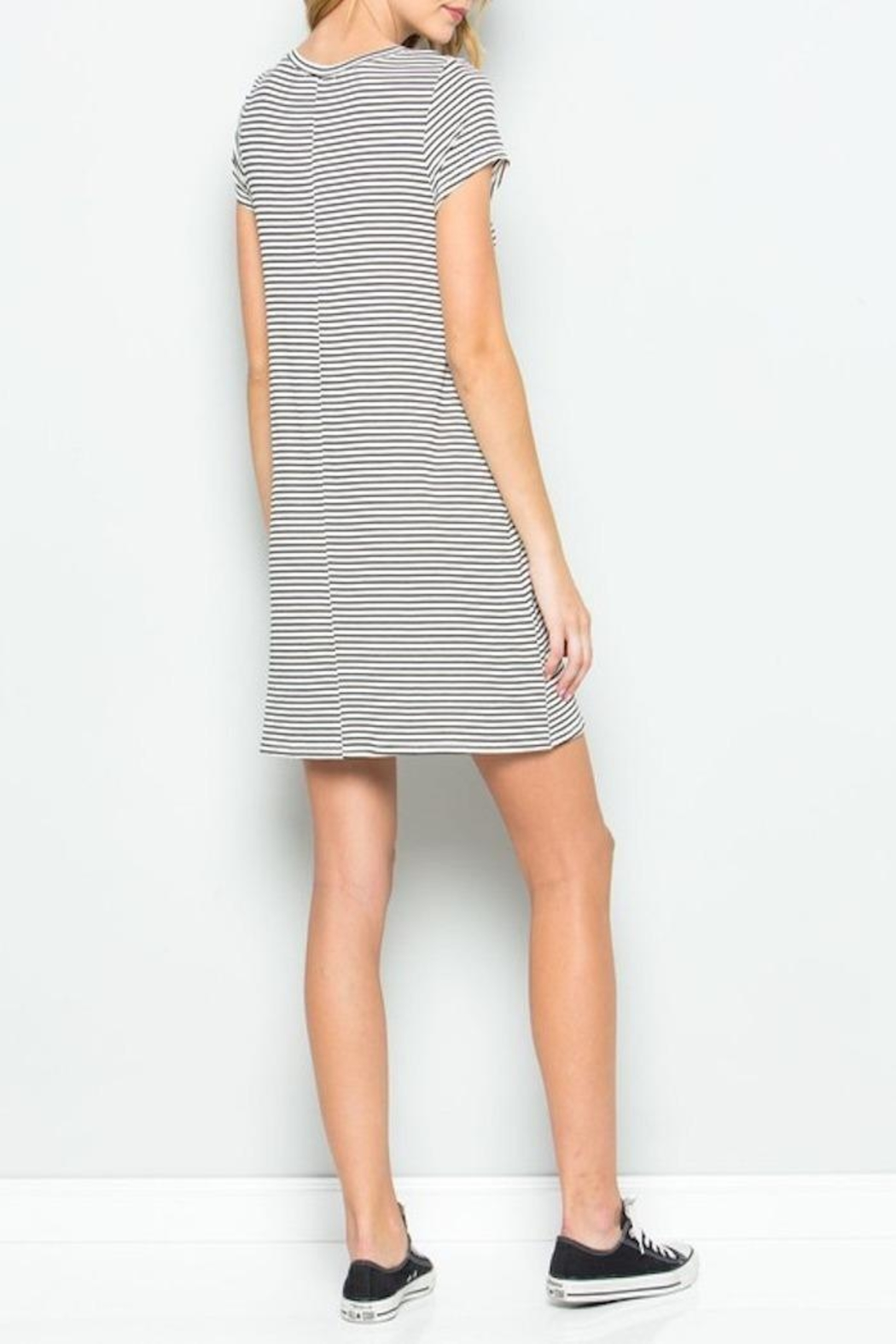 Apricot Lane Pin-Stripe Tee Dress - Front Full Image