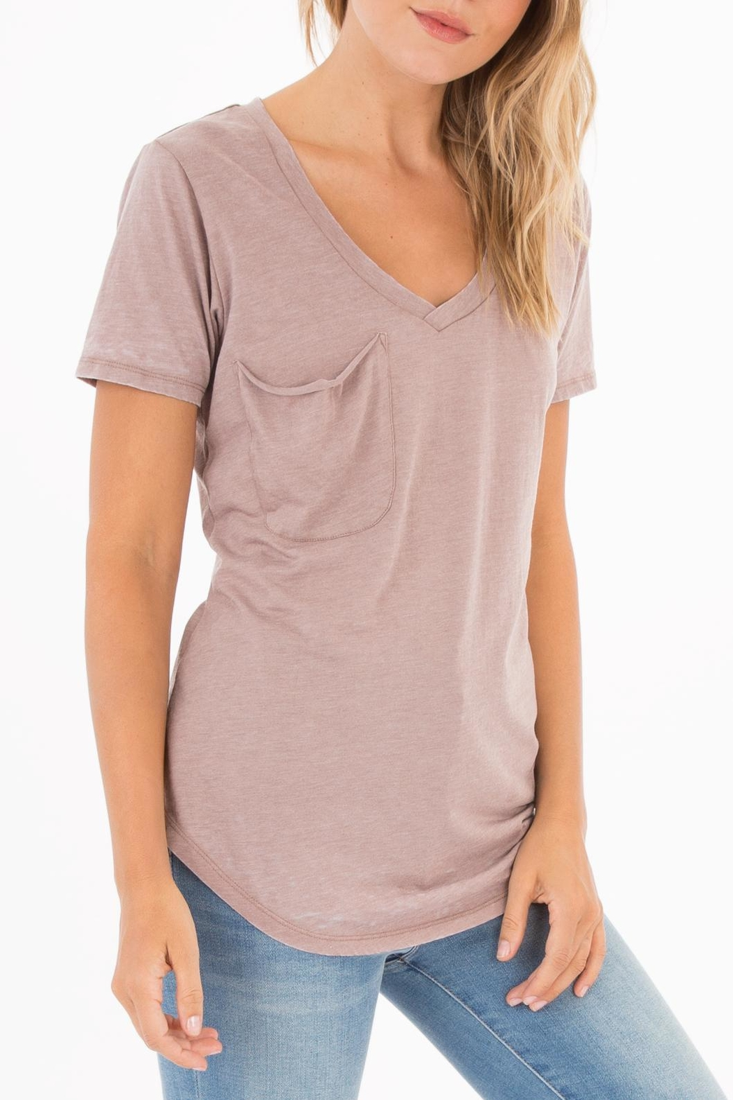 Apricot Lane Pocket Tee-Taupe/grey - Front Full Image