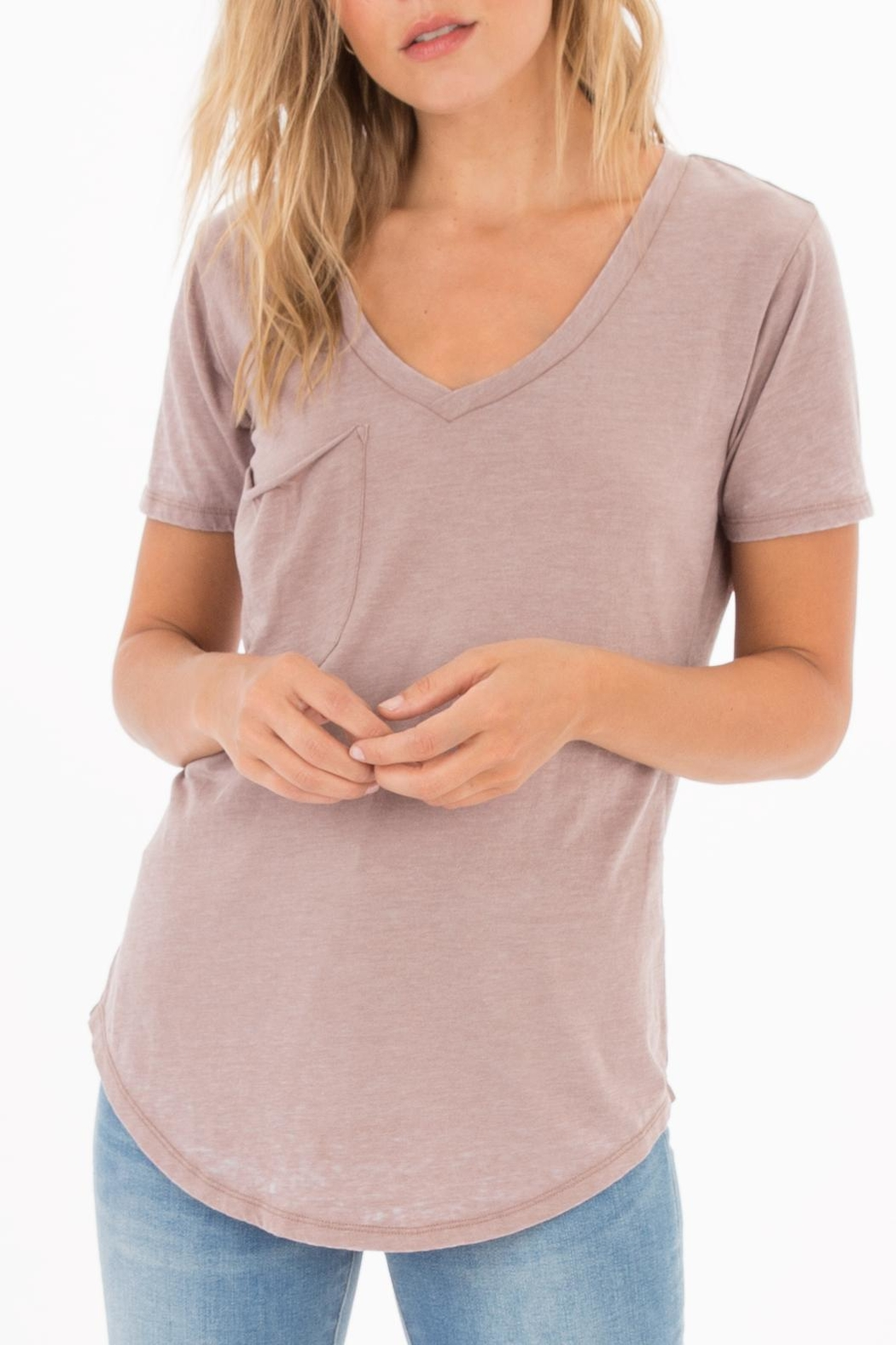 Apricot Lane Pocket Tee-Taupe/grey - Front Cropped Image