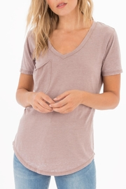 Apricot Lane Pocket Tee-Taupe/grey - Front cropped