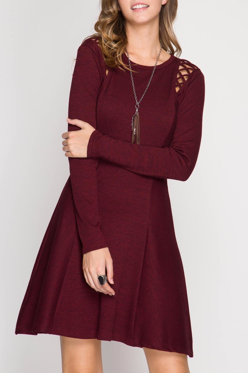 Apricot Lane Red Velvet Dress - Front Cropped Image