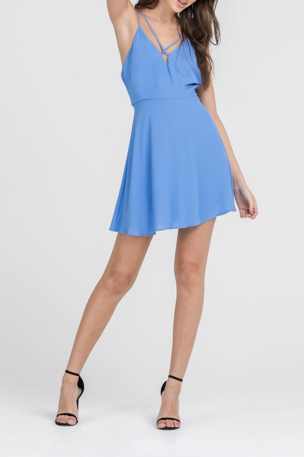 Apricot Lane Skater Girl Dress-Blue - Front Full Image