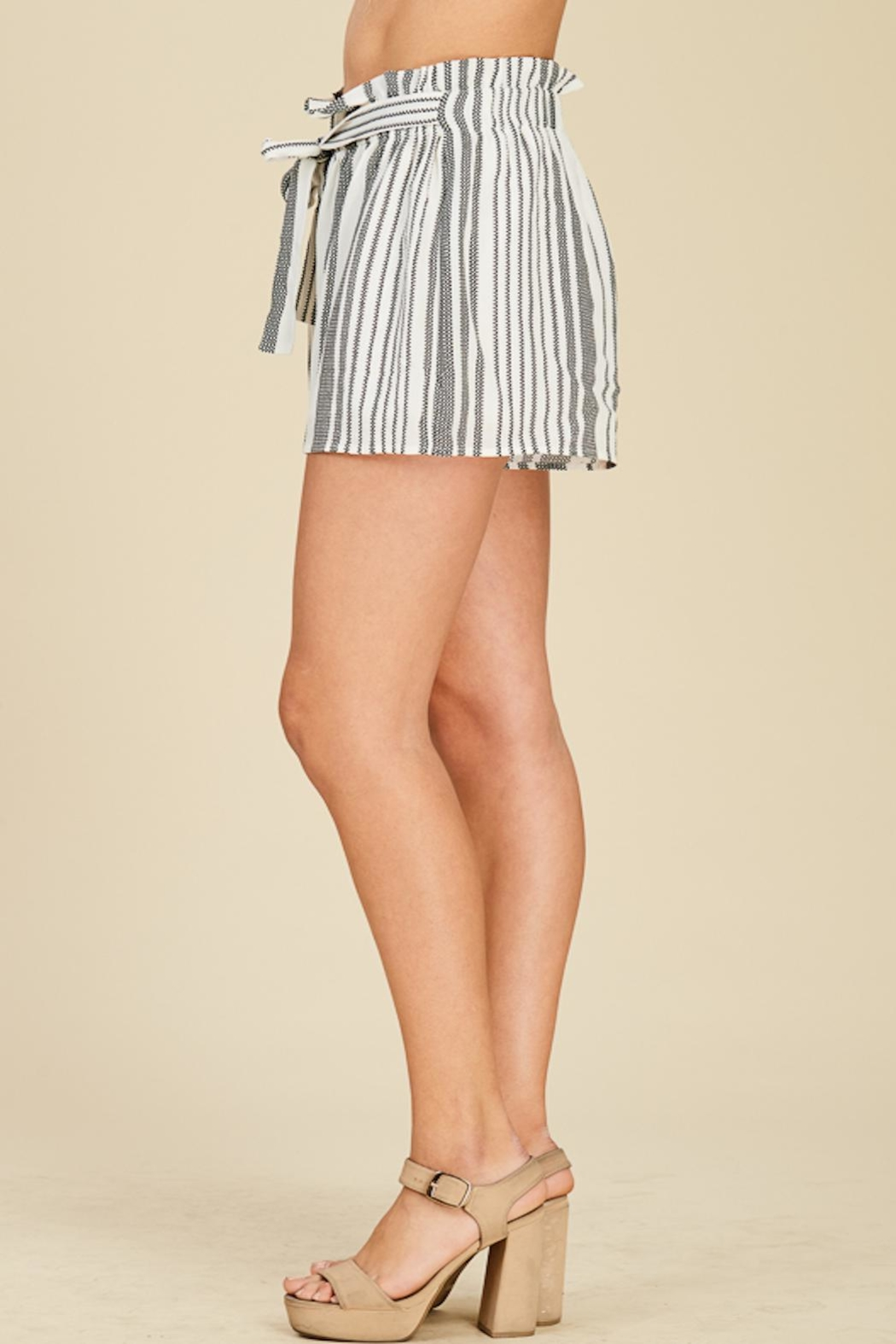 Apricot Lane Striped Bucket Shorts - Front Full Image