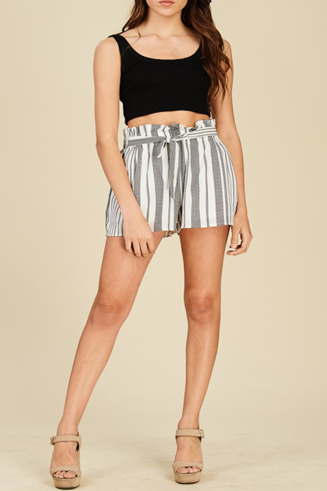 Apricot Lane Striped Bucket Shorts - Front Cropped Image