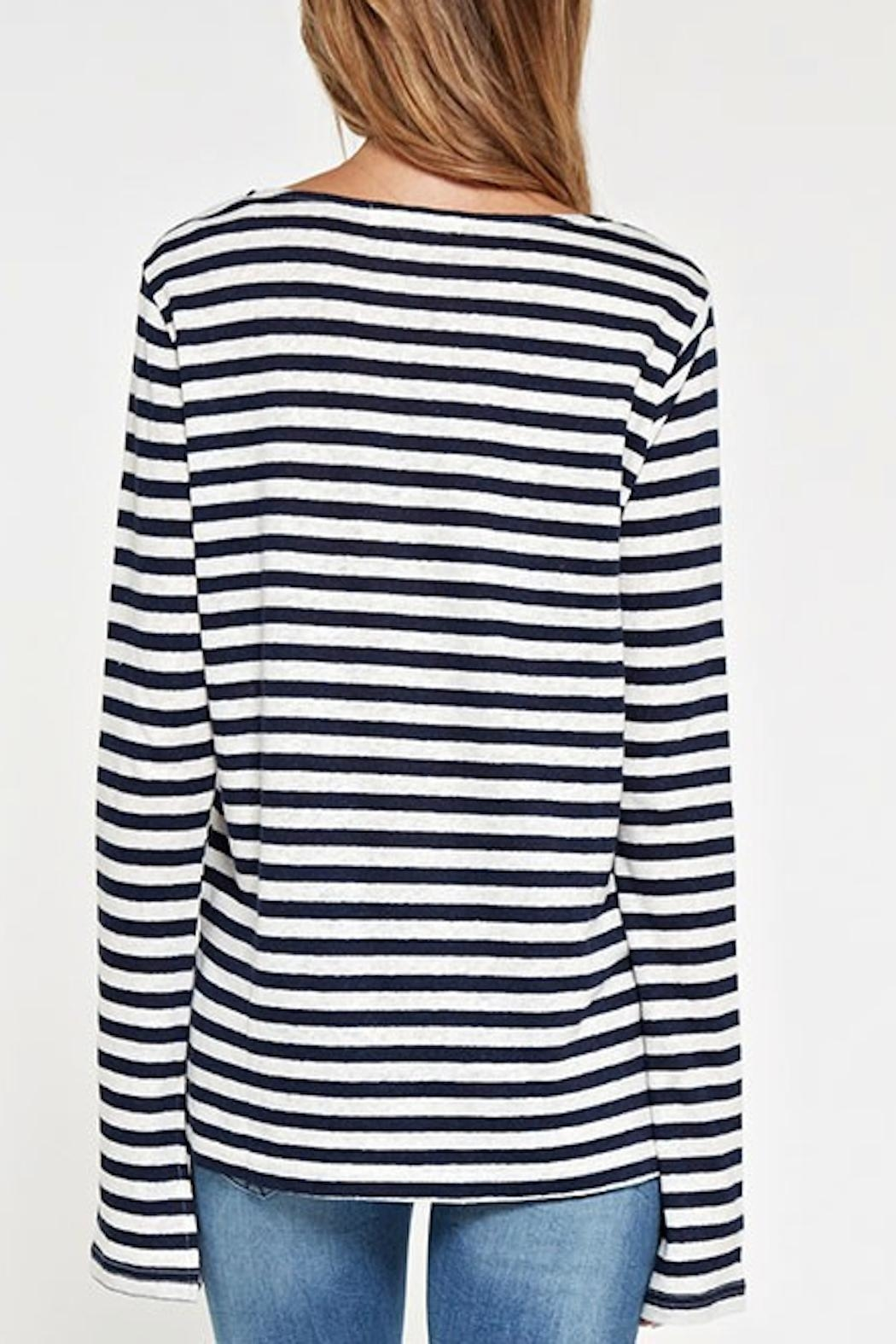 Apricot Lane Striped Linen Top-Navy - Side Cropped Image